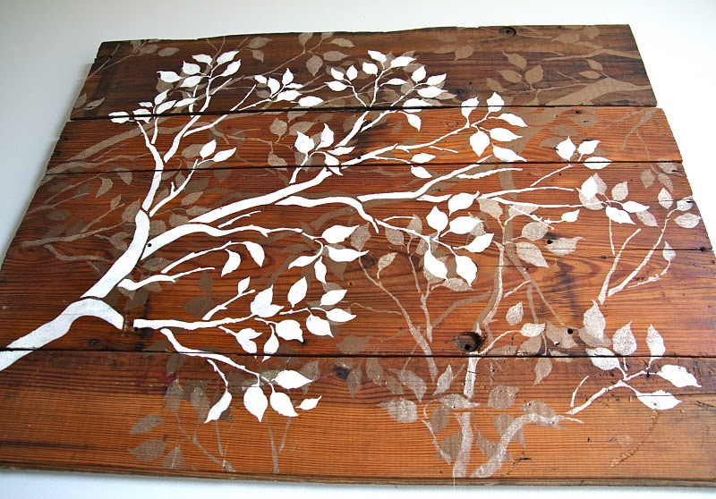 Guest project make a hanging fabric doily mobile - Painting with stencils on wood ...