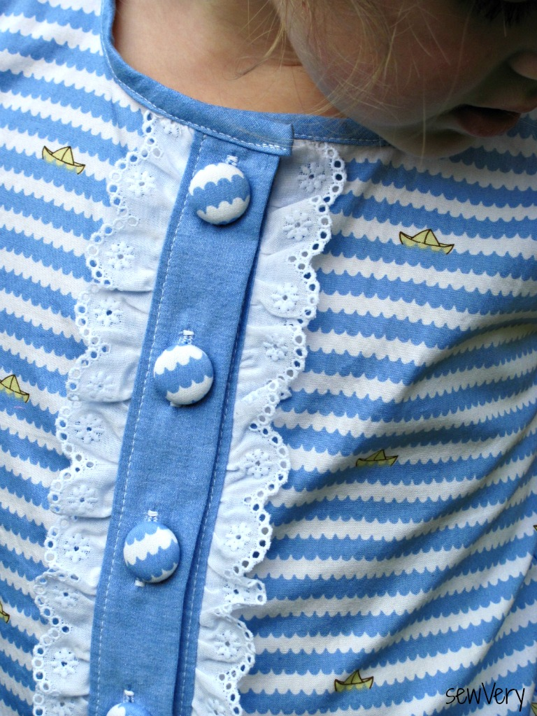 Little Girls Top With Eyelet Ruffles on Placket