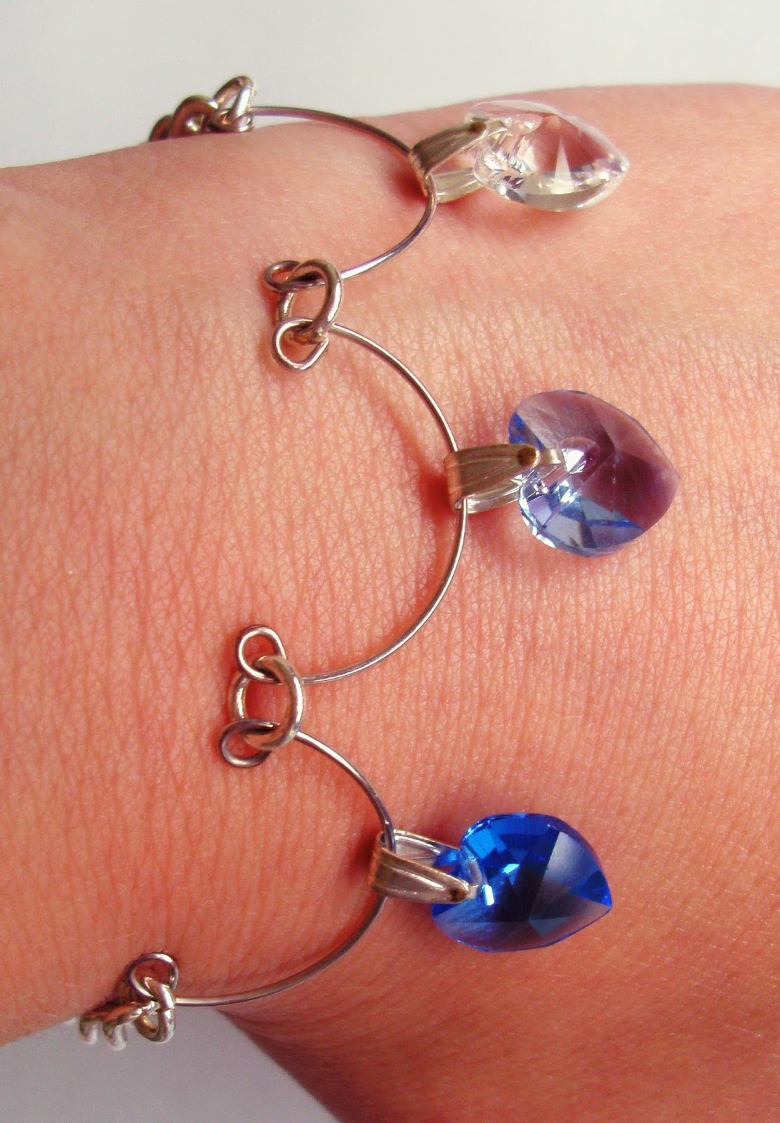Kimberley Wilson Three Hearts of Love Bracelet Blue Hearts Stirling Silver