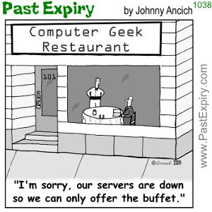 [CARTOON] Computer Geek Restaurant. cartoon, computers, food, restaurant,<br />