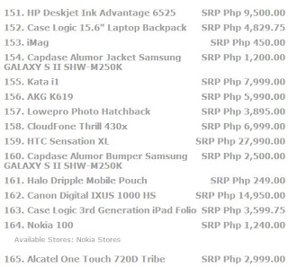 page 11 Price list for laptops, cellphone, tablets, and all other electronic devices