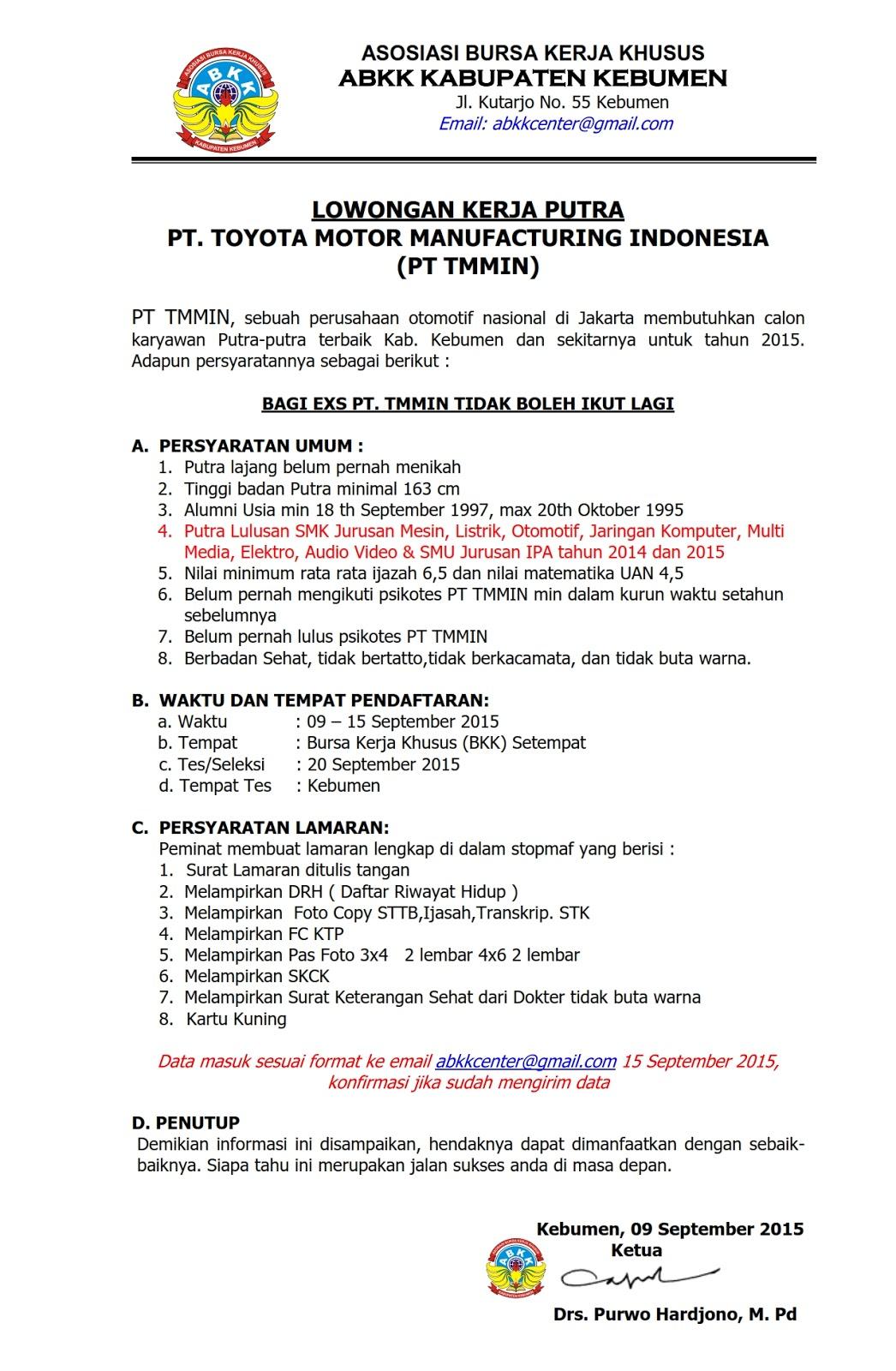 Info Lowongan Pekerjaan PT. Toyota Motor Manufacturing