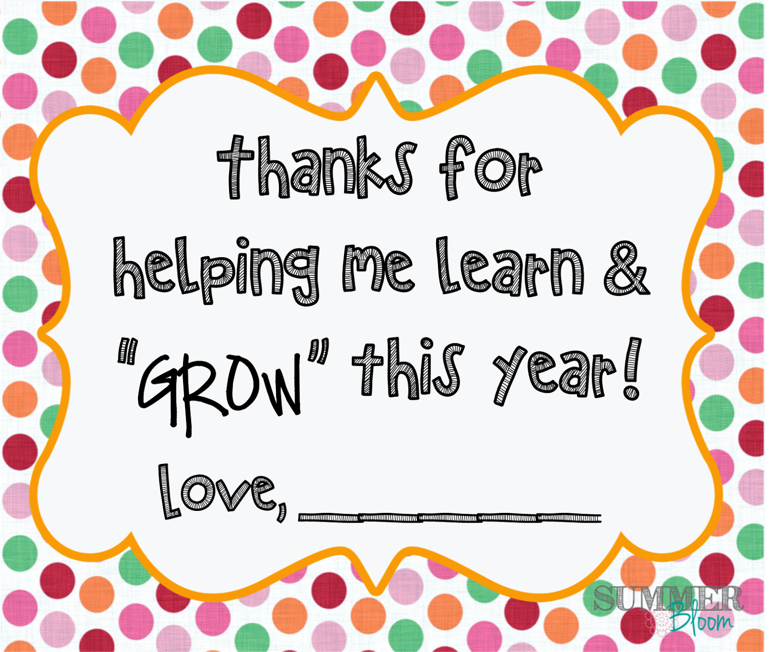 Sweet image with regard to thank you for helping me grow printable
