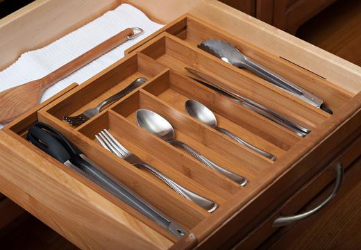 7-Slot Expandable Bamboo Silverware Drawer Organizer #LakeHouse