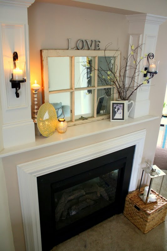 and the sconces give it an Burlap Lace  Fireplace Wall Mantel Makeover Sconces Around Home Decoration Ideas