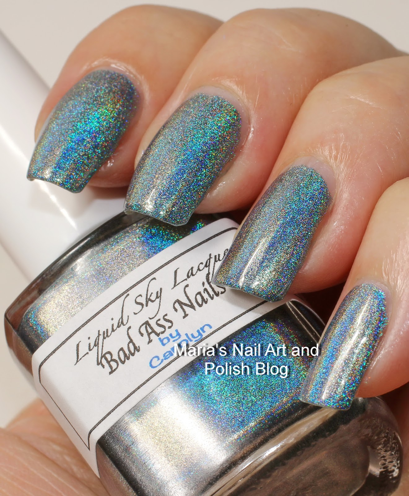 Marias nail art and polish blog liquid sky lacquer bad ass nails liquid sky lacquer bad ass nails is an extreme deep blue holo and indoors and in the shade i would call it a steel grey with a touch of blue prinsesfo Images