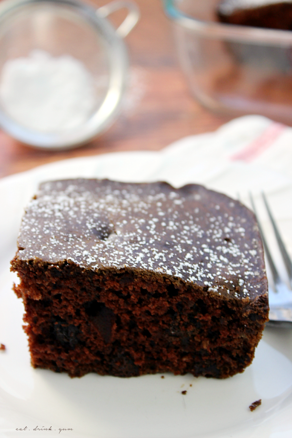 This Chocolate Snack Cake is easy to make using common pantry ingredients! It's the perfect recipe when you need a quick, chocolatey treat! No eggs in this recipe.