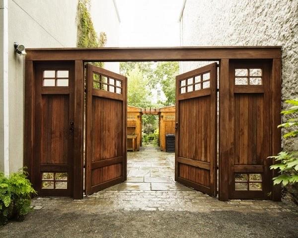 Puertas madera zaguanes portones carpinteria fina maderas - Puerta de madera para jardin ...