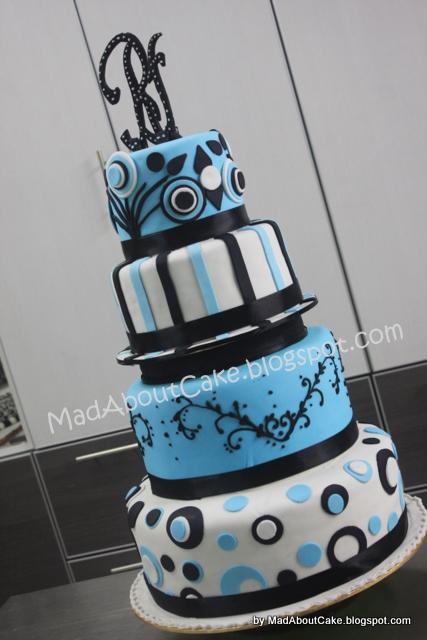 Blue Tiffany and black wedding cake Initial RF