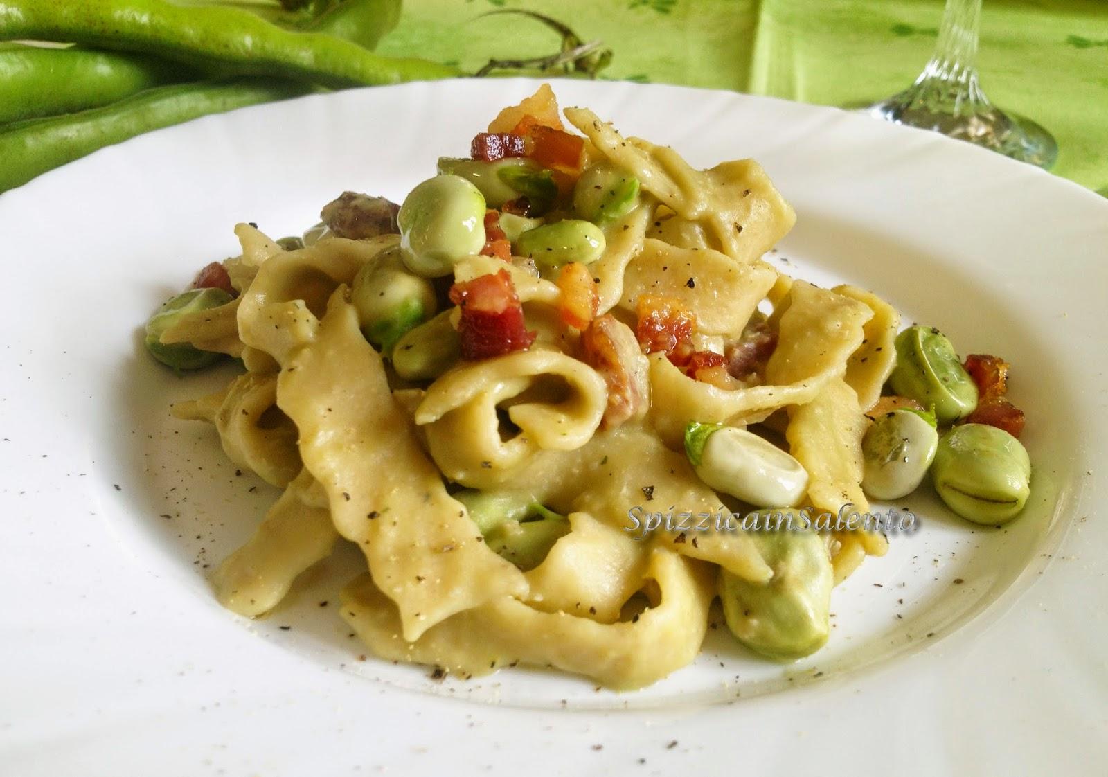 casarecce con fave fresche dell'orto & pancetta croccante