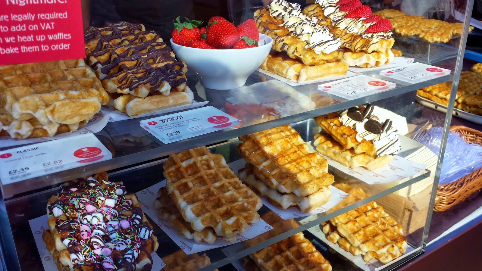 Delicious waffles at a stand in Portabello