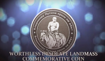 coin with shirtless Putin on a horse with this inscription: Владимиру Путина крым не ебет