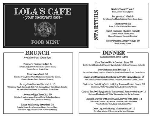 Lola's cafe menu
