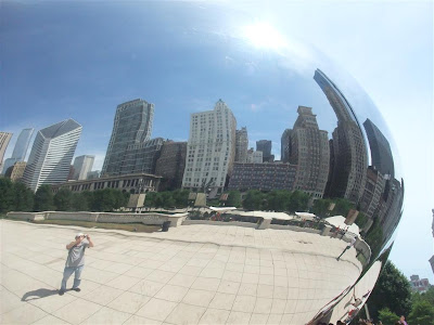 city reflection in sculpture, the bean, chicago, cloud gate