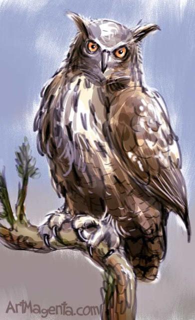 Berguven är en fågelmålning av ArtMagenta