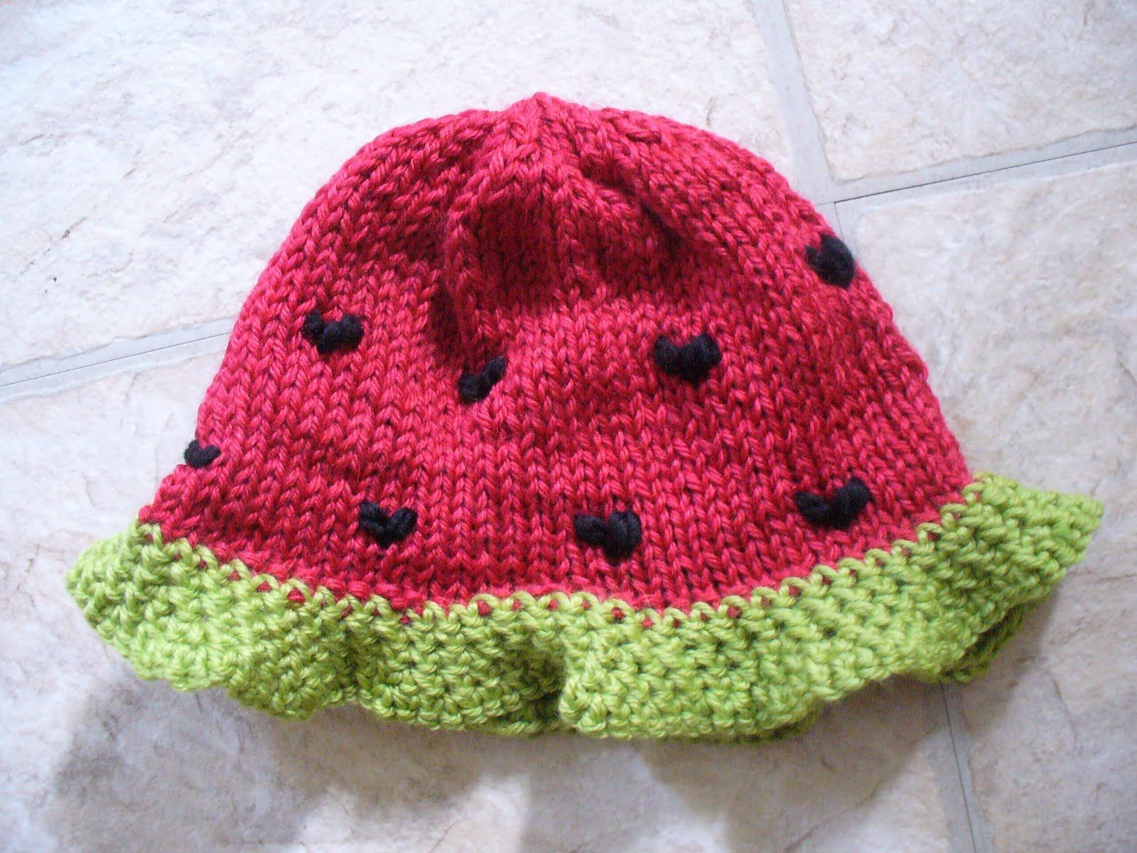 The Feisty Redhead: Watermelon Knit Baby Hat