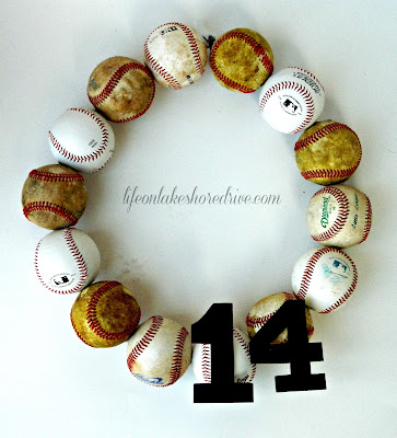 baseball wreath, baseball wreath tutorial, how to make a baseball wreath