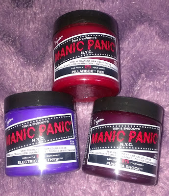 Manic Panic Pillarbox Red Electric Amysthst Fuchsia Shock