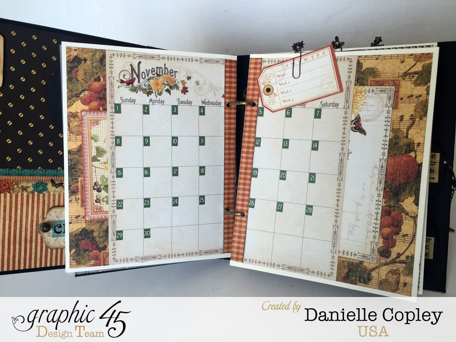 planner love woth graphic 45 mixed media album and time to flourish steampunk debutante and