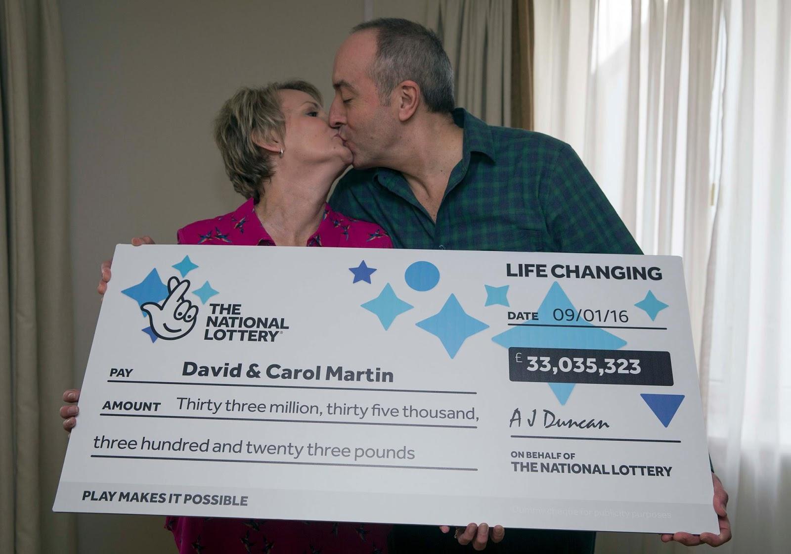 David & Carol Martin from Scotland won £33 million on Lotto