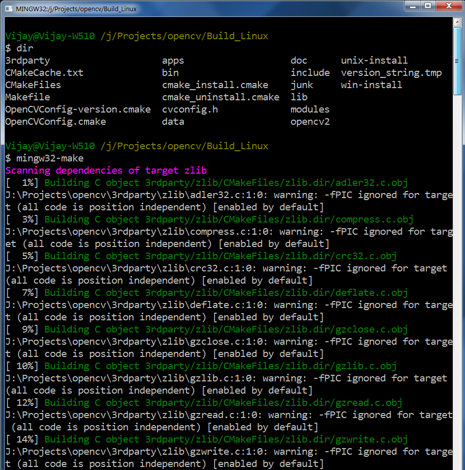 building opencv libraries for linux on windows using mingw
