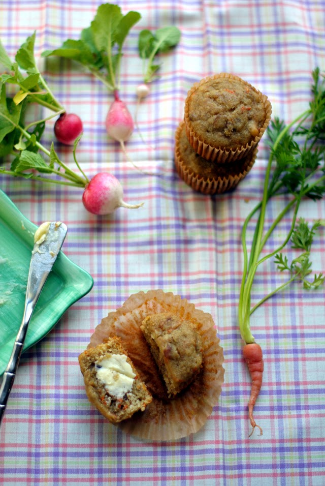 Dairy Free, Gluten-Free Banana Muffins with carrots, quinoa flour and olive oil