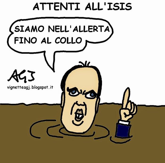 Alfano, ISIS, terrorismo, vignetta , satira