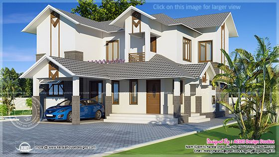 Sloping Roof Home Exterior Design Kerala Home Design And Floor Plans