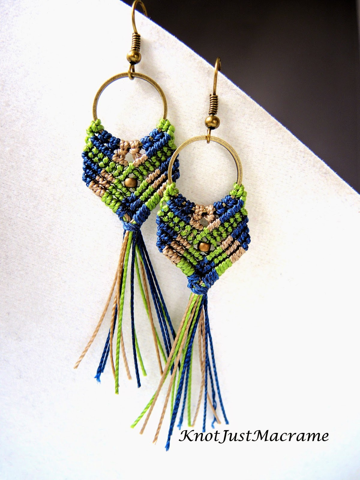long version of Gypsy micro macrame earrings from Sherri Stokey