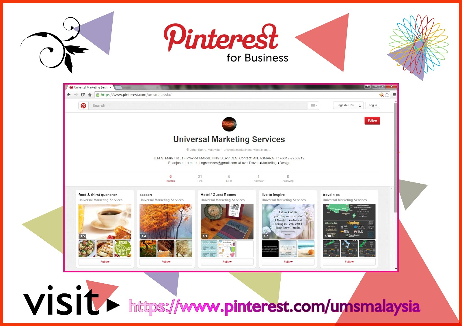 Visit U.M.S. at PINTEREST today !