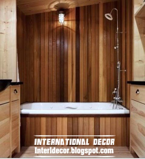 Best 15 wooden bathroom decorating ideas and designs photos for Decorating ideas tub surround