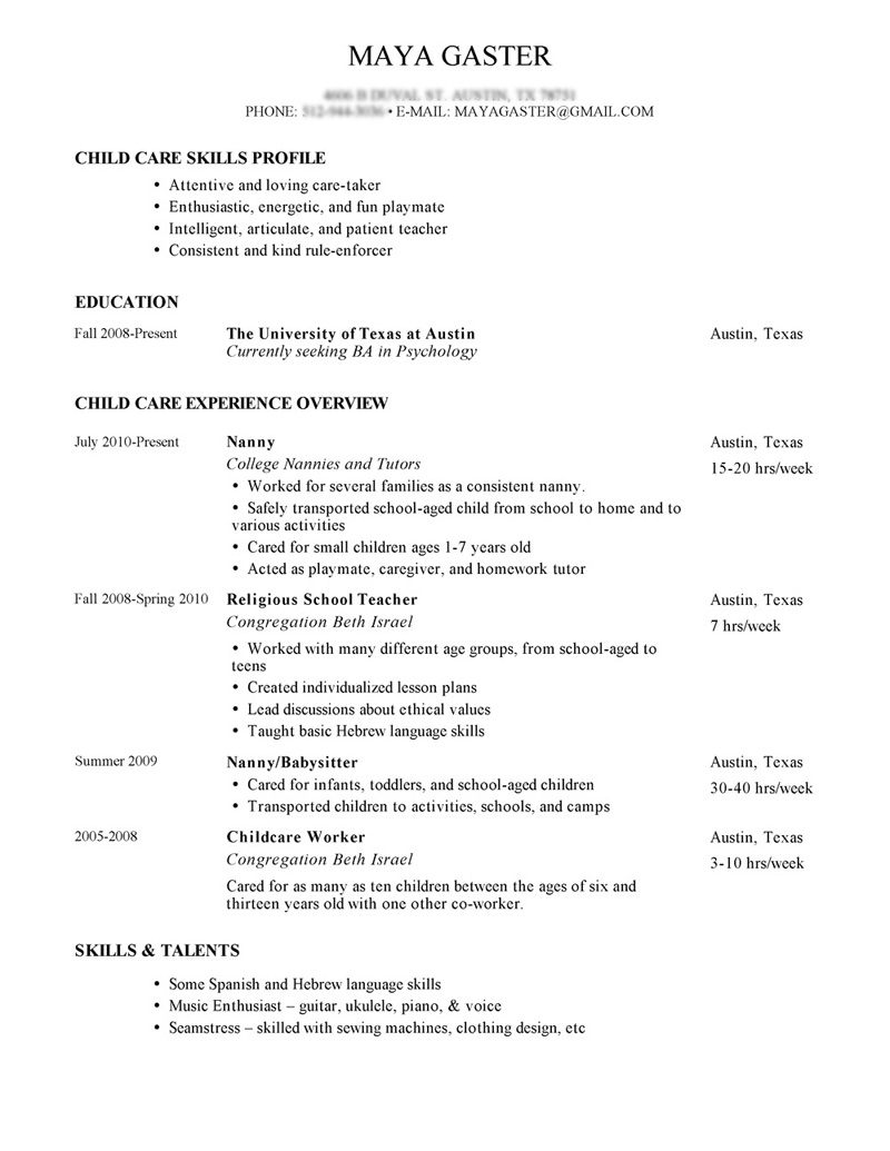 nanny resume description