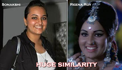 Similar features of Sonakshi Sinha and Reena Roy