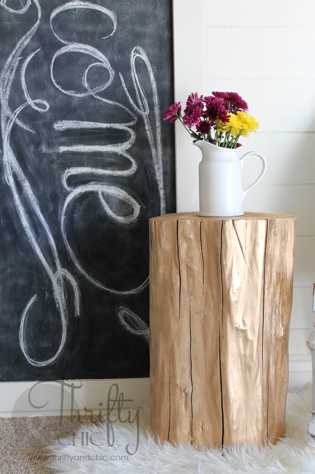 Spray Painted Tree Stumps Turned Side Tables -post shows how to pick your wood and where!