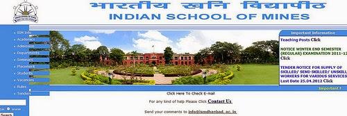 ISM Dhanbad M.Sc Admission 2015