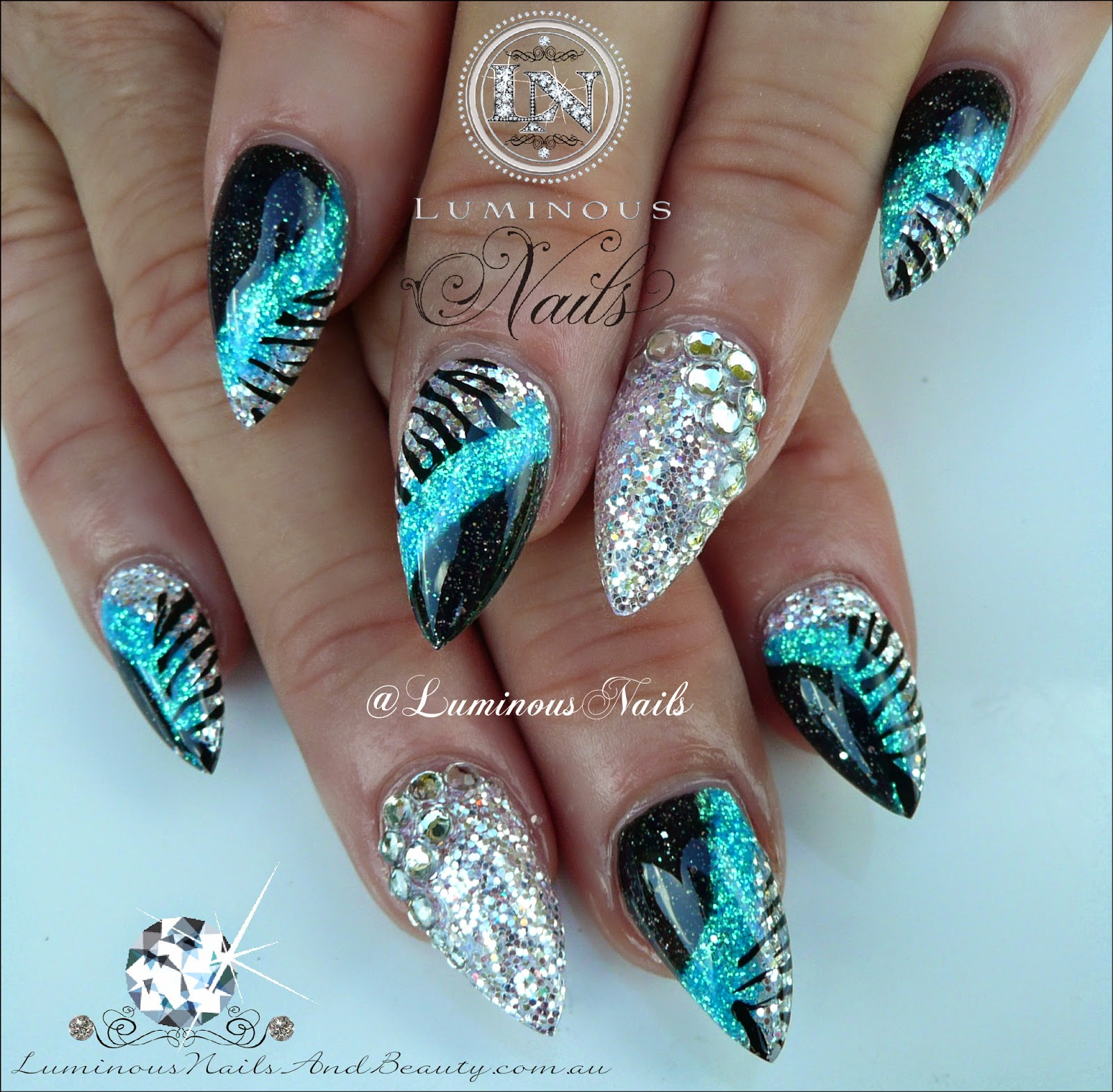 Royal Blue And Silver Nail Designs