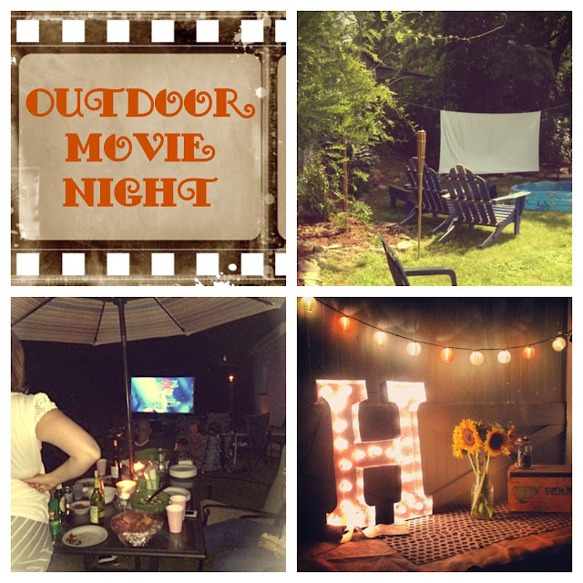 Outdoor movie night, projector, backyard drive in, marquee letter, summer fun