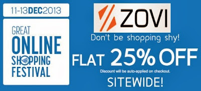 Great Online Shopping Festival by Google: Flat 25% Off on All Products Sitewise at Zovi