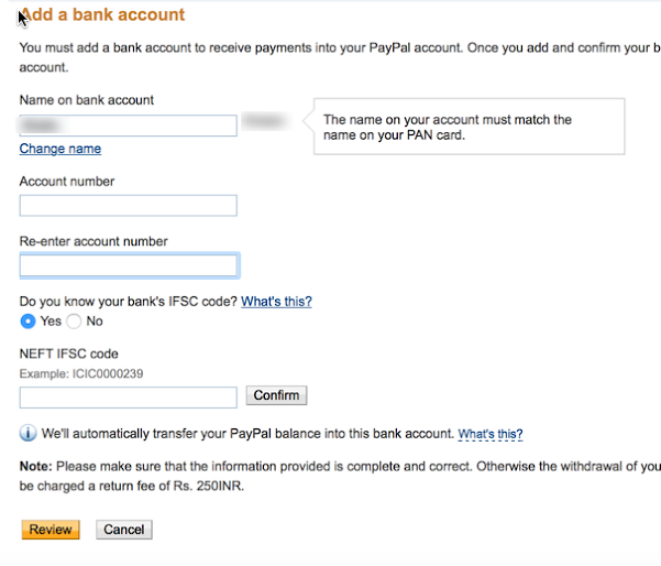 Link Bank account to your PayPal account : eAskme