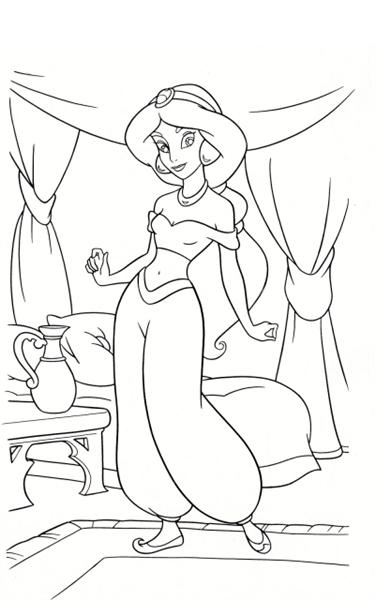 Princess jasmine coloring pages team colors for Jasmine the princess coloring pages