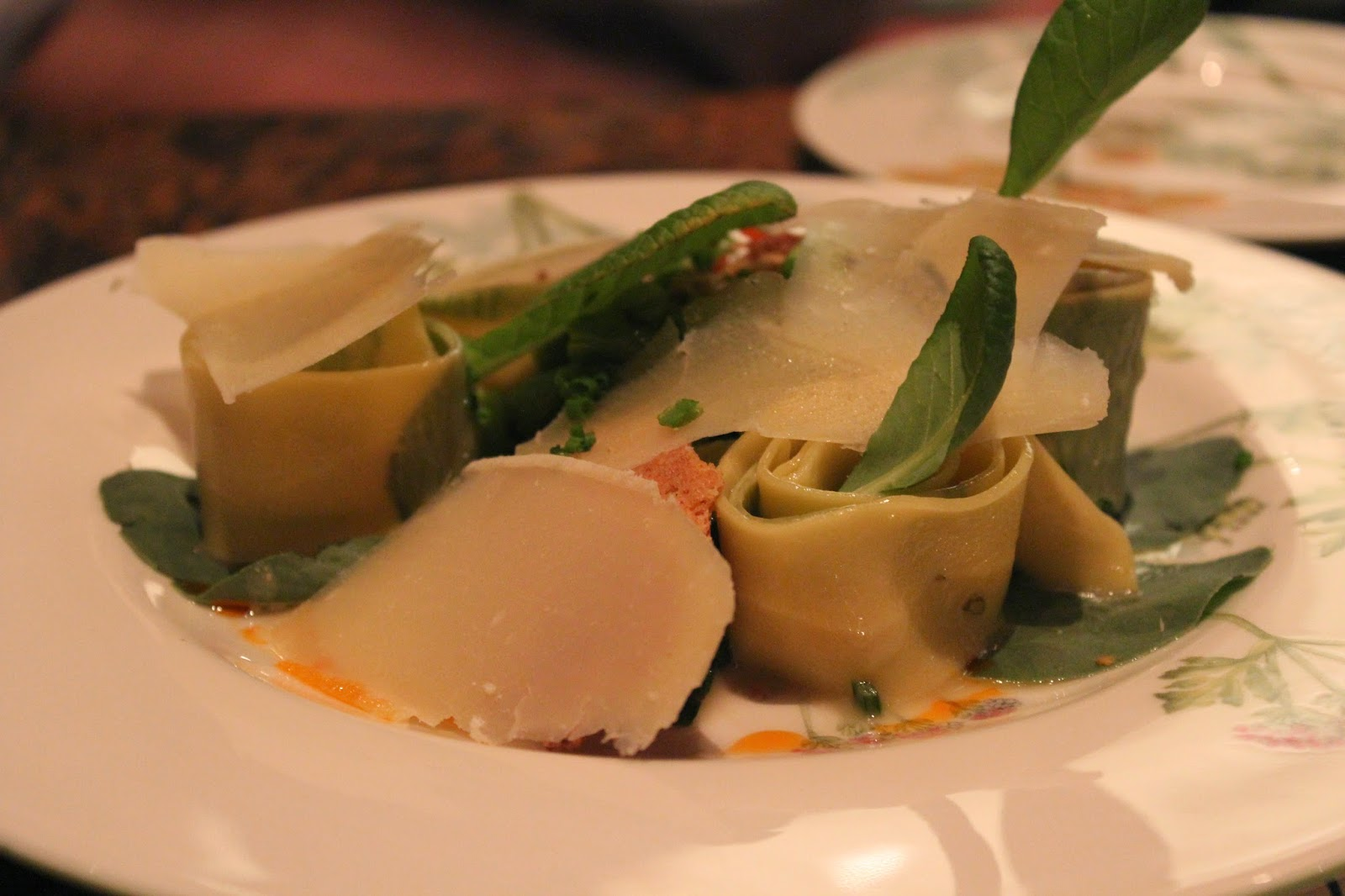 Fava leaf pappardelle with roasted rabbit ragu, fava beans, and Parmigiano Reggiano at Bondir, Concord, Mass.