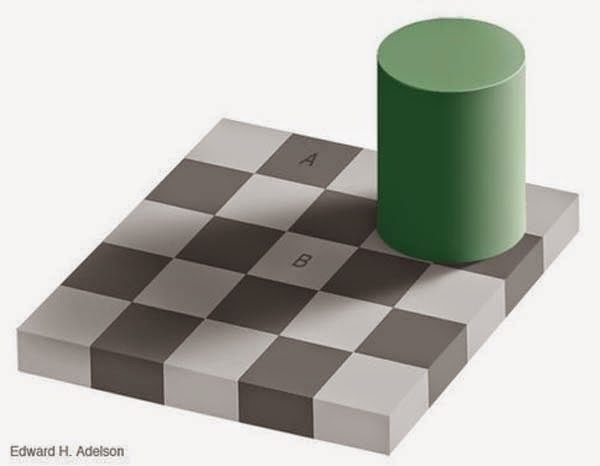 Awesome Illusions That May Make Your Brain Explode - Squares A and B are the same shade of grey.