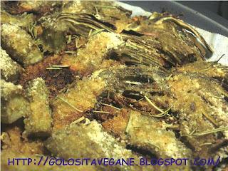 aglio, carciofi, Contorni, farina di ceci, farina integrale, forno, gratinati, kamut, origano, panatura, pane grattugiato, ricette vegan, rosmarino,