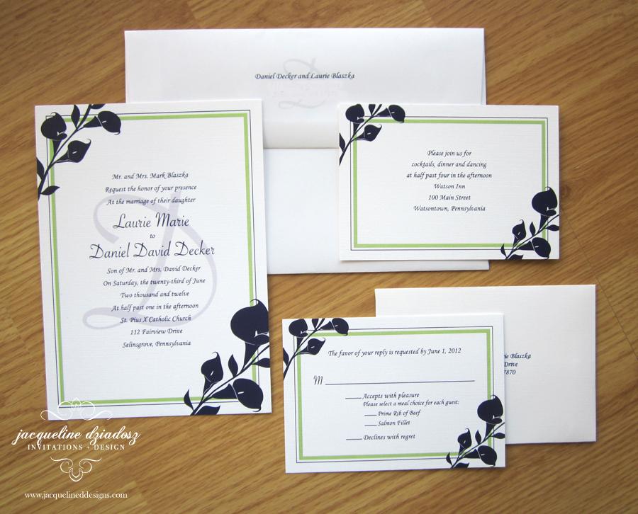 Laurie U0026 Danielu0027s Calla Lily Wedding Invitiations. Invitations ...