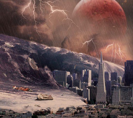Tsunami invadindo cidade, cataclisma, ondas gigantes, 2036