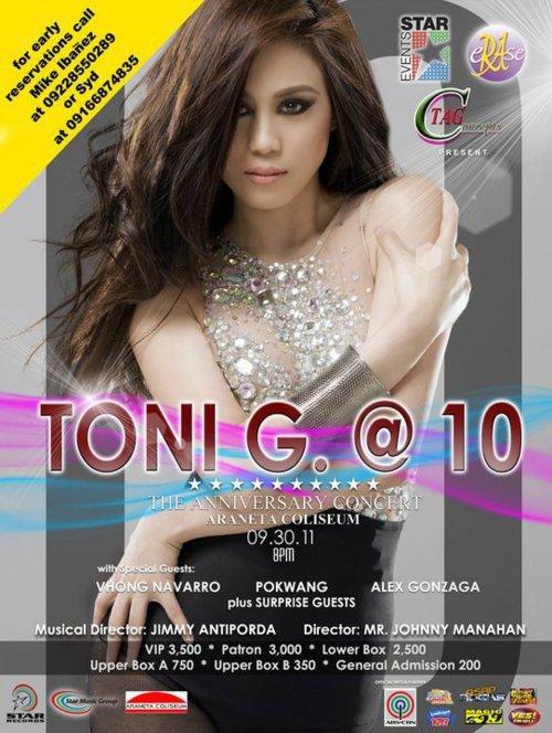 Toni Gonzaga @ 10 Live in SMART Araneta Coliseum, poster, image, picture