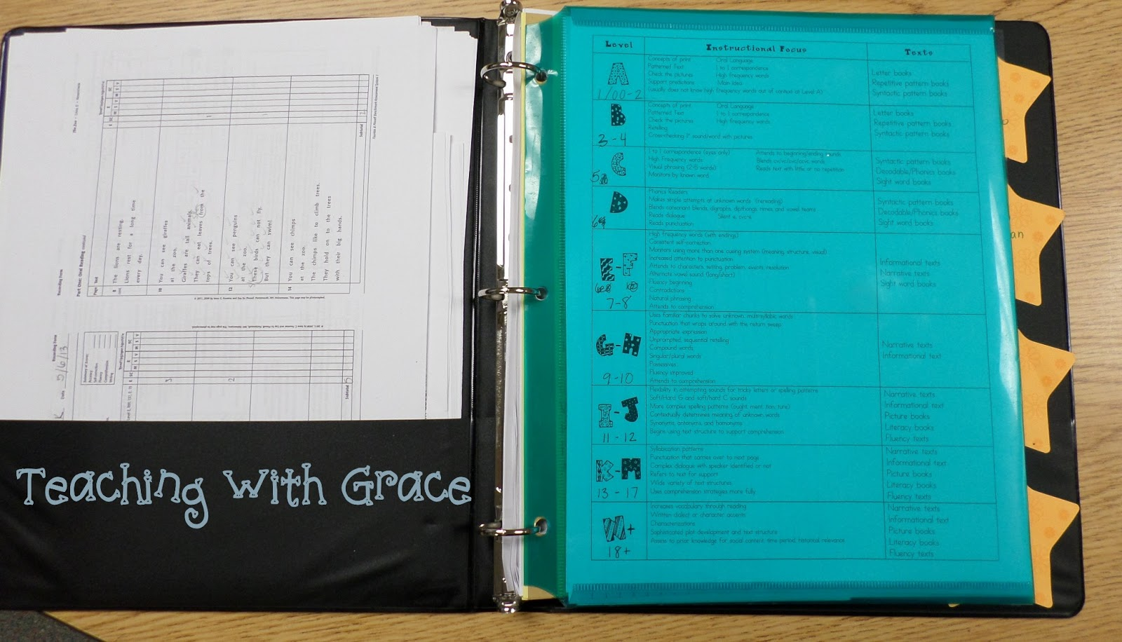 Teaching with grace guided reading binder a quick look see for Reading binder cover