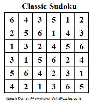 Classic Sudoku (Mini Sudoku Series #11) Solution