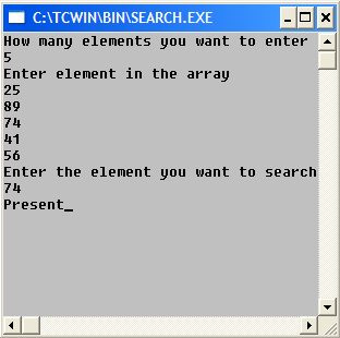 C Program to Find if a Number is Present in a List