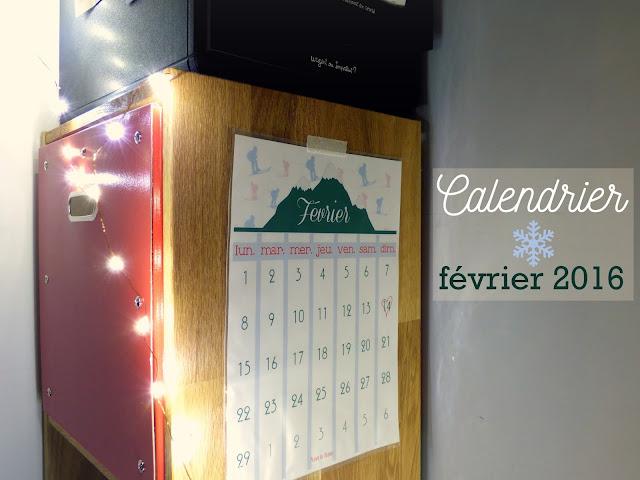 calendrier février 2016